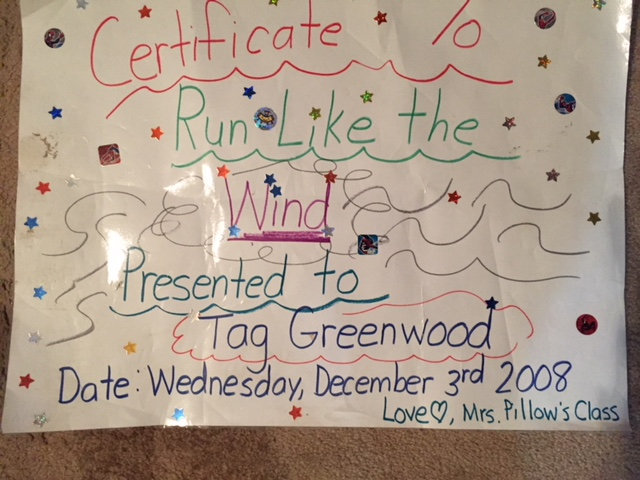 Certificate awarded to Tag by Mrs. Pillow
